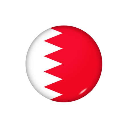 Icon flag of Bahrain. Round glossy flag. Vector illustration.