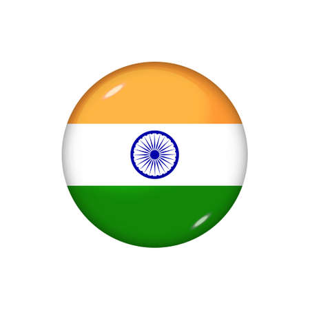 Icon flag of India. Round glossy flag. Vector illustration.