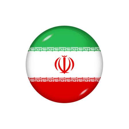 Icon flag of Iran. Round glossy flag. Vector illustration.