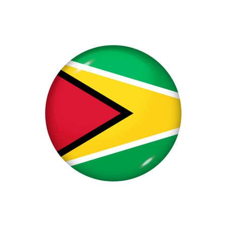 Icon flag of Guyana. Round glossy flag. Vector illustration. Illustration