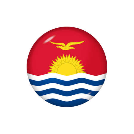 Icon flag of Kiribati. Round glossy flag. Vector illustration.