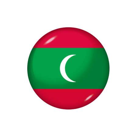 Icon flag of Maldives. Round glossy flag. Vector illustration. Vektorové ilustrace