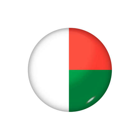 Icon flag of Madagascar. Round glossy flag. Vector illustration. 矢量图像