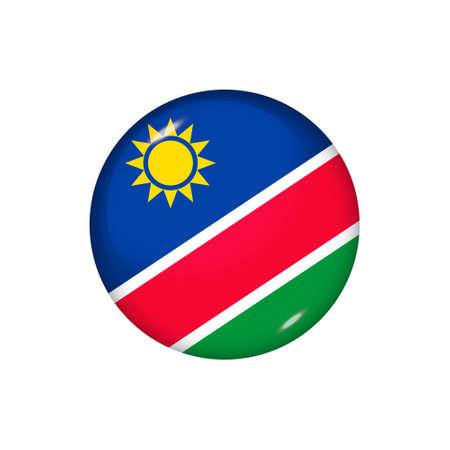 Icon flag of Namibia. Round glossy flag. Vector illustration. 矢量图像