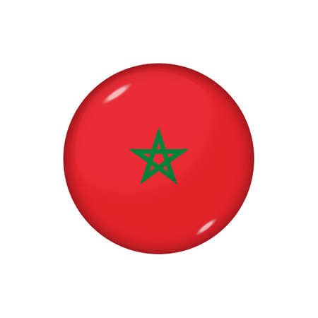 Icon flag of Morocco. Round glossy flag. Vector illustration.