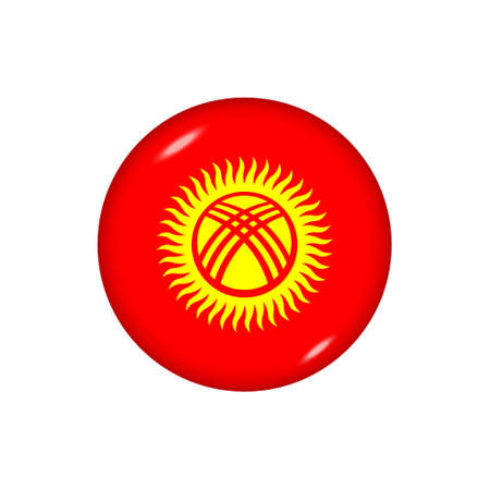 Icon flag of Kyrgyzstan. Round glossy flag. Vector illustration.