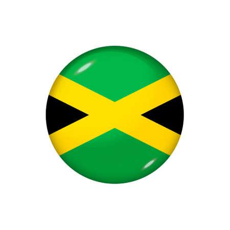 Icon flag of Jamaica. Round glossy flag. Vector illustration. 矢量图像