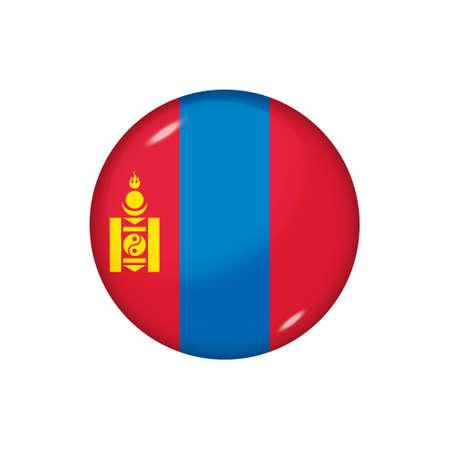 Icon flag of Mongolia. Round glossy flag. Vector illustration.