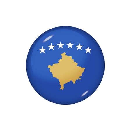 Icon flag of Kosovo. Round glossy flag. Vector illustration.