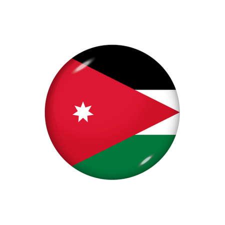 Icon flag of Jordan. Round glossy flag. Vector illustration.