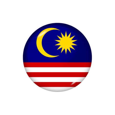 Icon flag of Malaysia. Round glossy flag. Vector illustration. 矢量图像