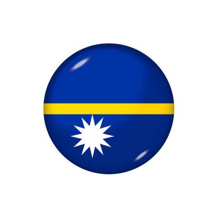 Icon flag of Nauru. Round glossy flag. Vector illustration. 矢量图像