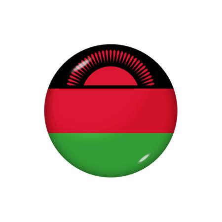 Icon flag of Malawi. Round glossy flag. Vector illustration. 矢量图像