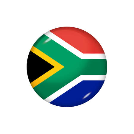 Icon flag of South Africa. Round glossy flag. Vector illustration. 矢量图像