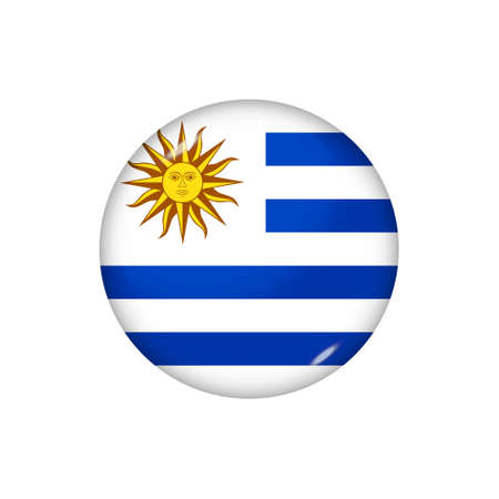 Icon flag of Uruguay. Round glossy flag. Vector illustration.