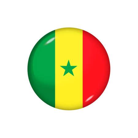 Icon flag of Senegal. Round glossy flag. Vector illustration.