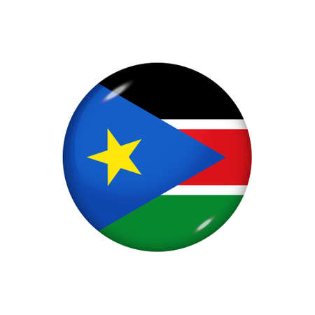 Icon flag of South Sudan. Round glossy flag. Vector illustration.