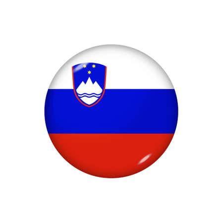 Icon flag of Slovenia. Round glossy flag. Vector illustration.