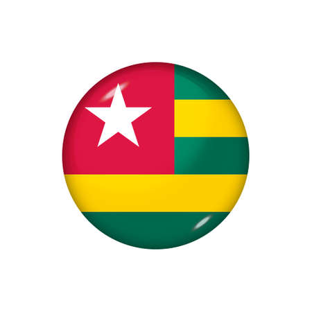 Icon flag of Togo. Round glossy flag. Vector illustration