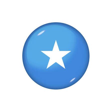 Icon flag of Somalia. Round glossy flag. Vector illustration.