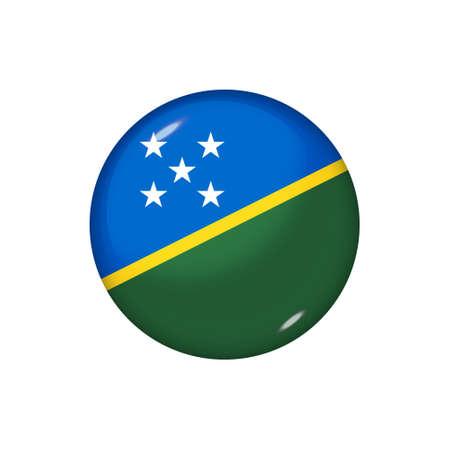 Icon flag of Solomon Islands. Round glossy flag. Vector illustration.