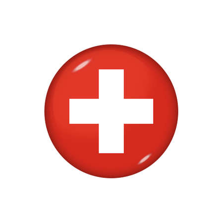 Icon flag of Switzerland. Round glossy flag. Vector illustration. 矢量图像