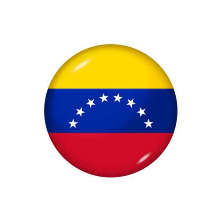Icon flag of Venezuela. Round glossy flag. Vector illustration. 矢量图像
