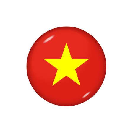 Icon flag of Vietnam. Round glossy flag. Vector illustration.