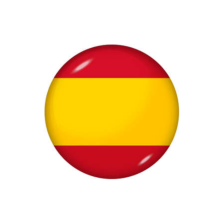 Icon flag of Spain. Round glossy flag. Vector illustration.