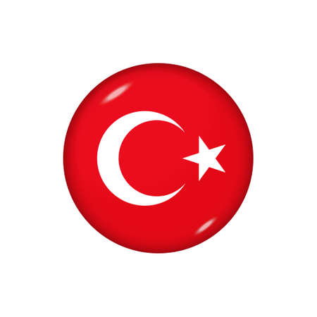 Icon flag of Turkey. Round glossy flag. Vector illustration.