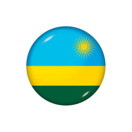 Icon flag of Rwanda. Round glossy flag. Vector illustration. 矢量图像
