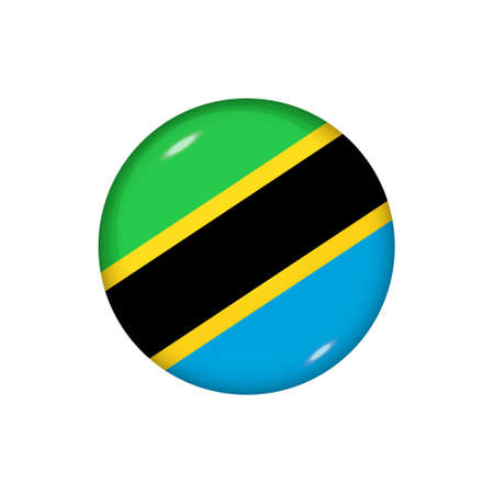 Icon flag of Tanzania. Round glossy flag. Vector illustration.
