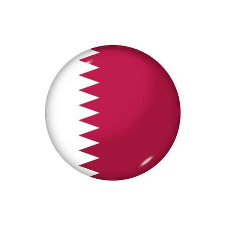 Icon flag of Qatar. Round glossy flag. Vector illustration.