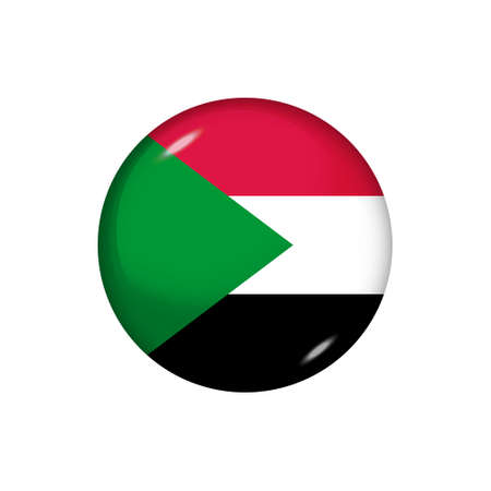 Icon flag of Sudan. Round glossy flag. Vector illustration.