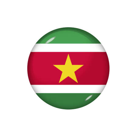 Icon flag of Suriname. Round glossy flag. Vector illustration.