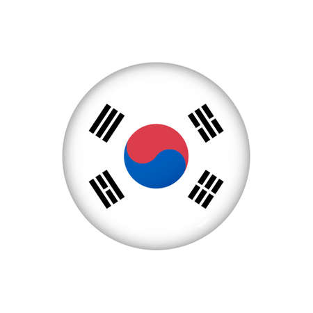 Icon flag of South Korea. Round glossy flag. Vector illustration. 矢量图像