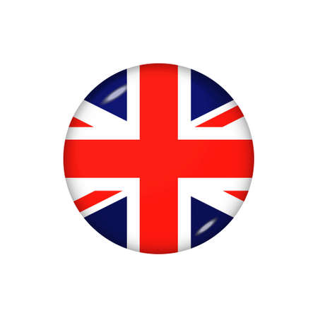 Icon flag of United Kingdom. Round glossy flag. Vector illustration.