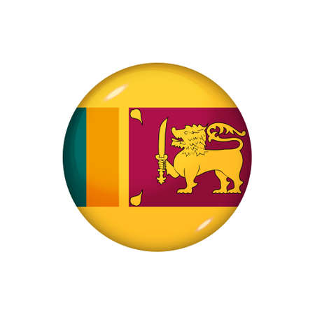 Icon flag of Sri Lanka. Round glossy flag. Vector illustration