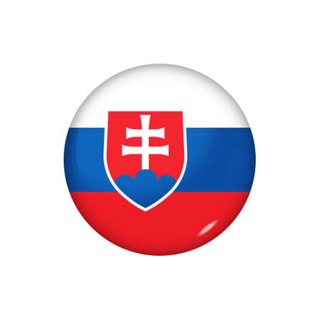 Icon flag of Slovakia. Round glossy flag. Vector illustration.