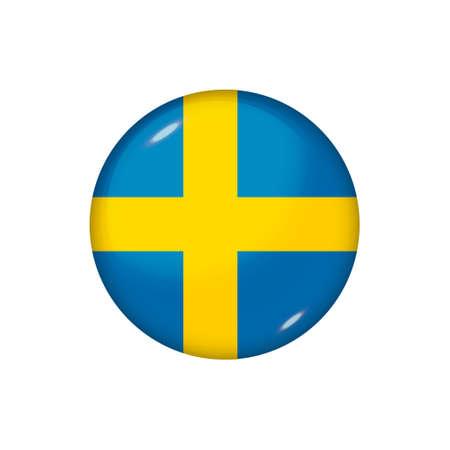Icon flag of Sweden. Round glossy flag. Vector illustration.