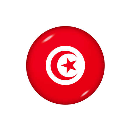 Icon flag of Tunisia. Round glossy flag. Vector illustration.