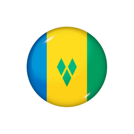 Icon flag of Saint Vincent and Grenadines. Round glossy flag. Vector illustration. 矢量图像