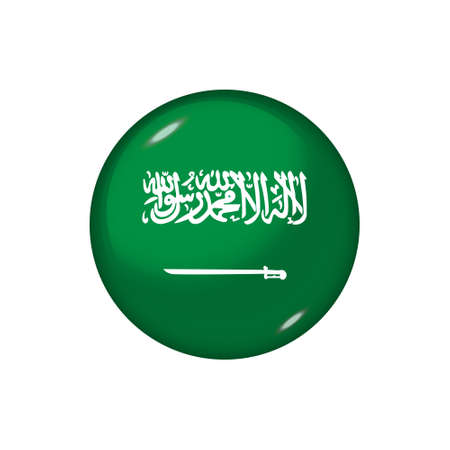 Icon flag of Saudi Arabia. Round glossy flag. Vector illustration.