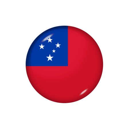 Icon flag of Samoa. Round glossy flag. Vector illustration.