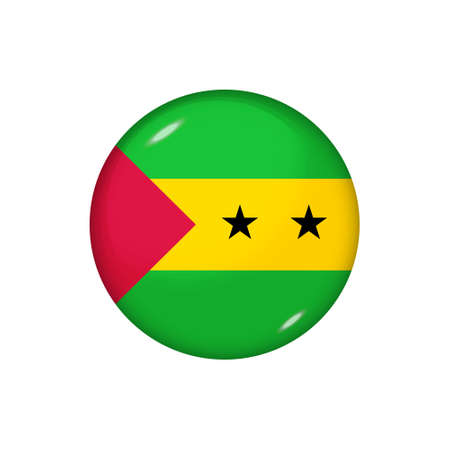 Icon flag of Sao Tome and Principe. Round glossy flag. Vector illustration. 矢量图像