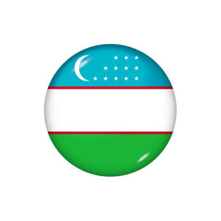 Icon flag of Uzbekistan. Round glossy flag. Vector illustration.