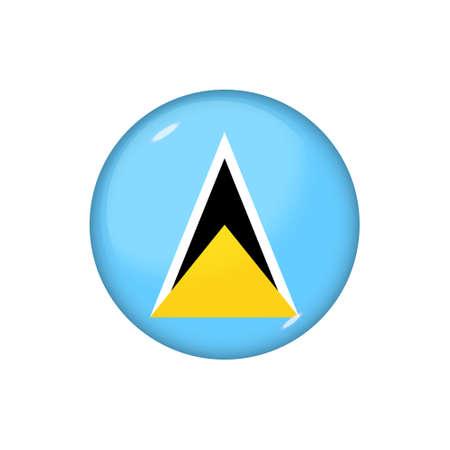 Icon flag of Saint Lucia. Round glossy flag. Vector illustration.
