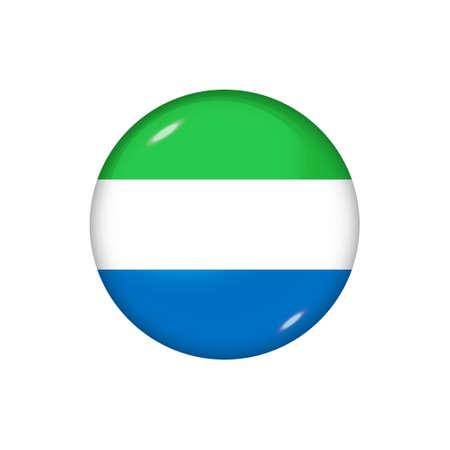 Icon flag of Sierra Leone. Round glossy flag. Vector illustration.