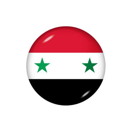 Icon flag of Syria. Round glossy flag. Vector illustration. 矢量图像