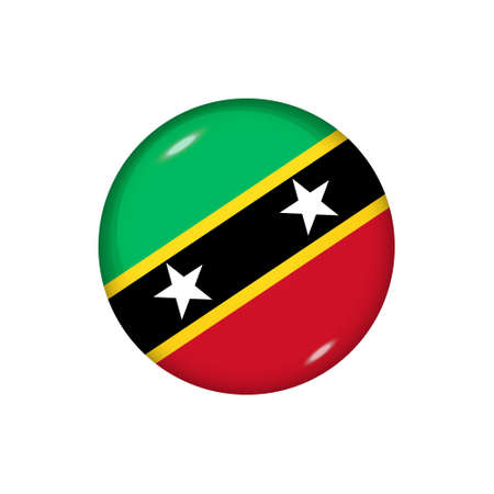 Icon flag of Saint Kitts and Nevis. Round glossy flag. Vector illustration